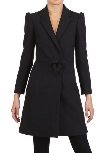RED VALENTINO STRUCTURED WOOL BOW COAT