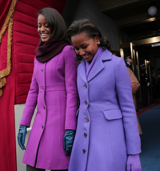 Sasha and Malia Obama at inauguration in purple Kate Spade and J. Crew coats