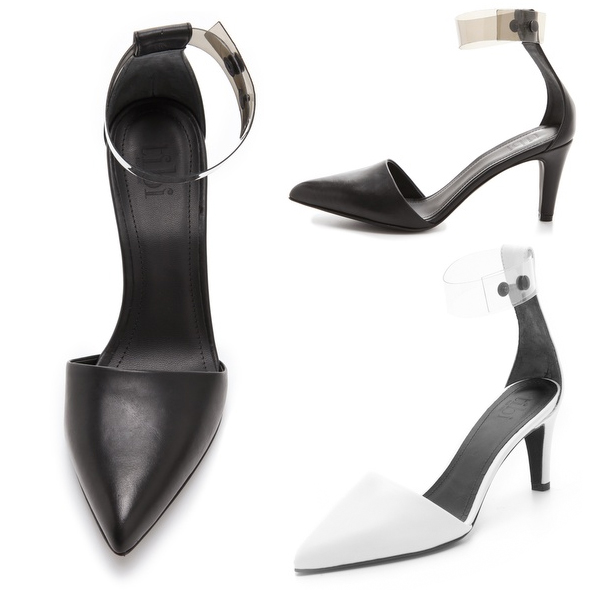 Tibi Shane Clear Strap Pump - black and white