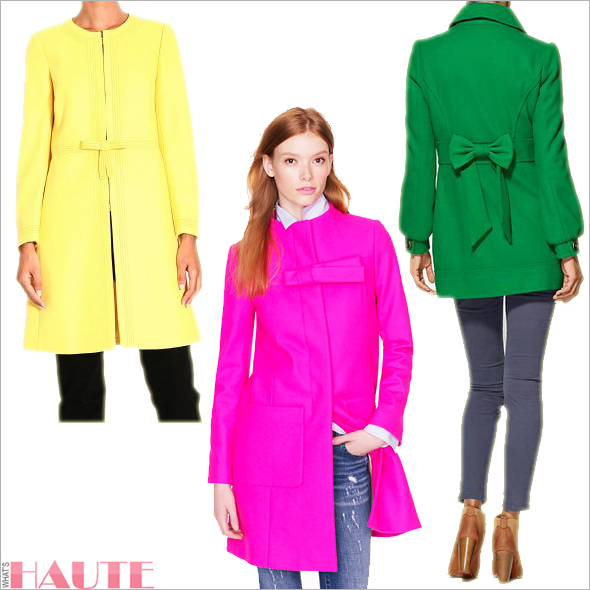 Valentino Bow Coat in yellow, J. Crew Bow Coat in hot pink, Tulle Double Breasted Cocoon Coat in green