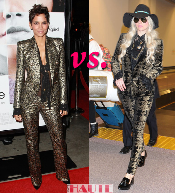 Who rocked it hotter - Halle Berry or Ke$ha in similar gold and black brocade print suits by Balmain & 7 For All Mankind