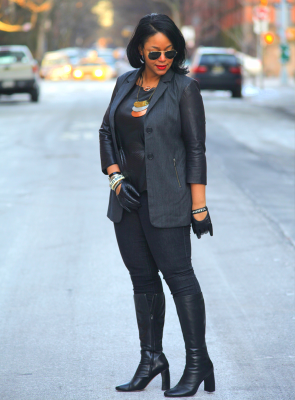 My style: Back to black (Ecru blazer with leather sleeves, faux leather peplum top, Black Orchid jeans, Jean-Michel Cazabat Raiza Banana Heel Boots, H&M leather moto gloves, Ray-Ban aviator sunglasses, Jules Smith Kiss Kiss Rose Gold Necklace, Triple Hammered-Plate Necklace)