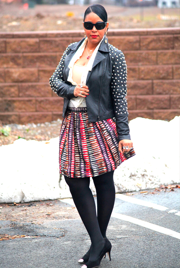 My style: mixed metals &amp; prints (ASOS Blue Valley Heavy Stud Biker Jacket, Wren Festive Printed A-Line Skirt, Ippolita Teardrop pendant necklace, Covet blouse, Alexander Wang Claudia Zip Grommet Hobo, Corso Como Penley Metal Cap Toe Pumps)