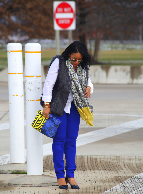 My style: Ray-Ban aviator sunglasses, Faux fur vest, Gap oxford shirt, H&M blue pencil pants, ASOS chevron Print Clash Roll Top clutch, J. Crew pave heart bracelet, Ann Taylor Scribble Silk scarf, Zara Pointed toe d'Orsay pumps