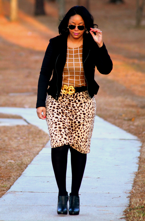 My style - In the woods (Forever 21 grid print top, cheetah print skirt, Tahari velvet moto jacket, Max Studio booties)