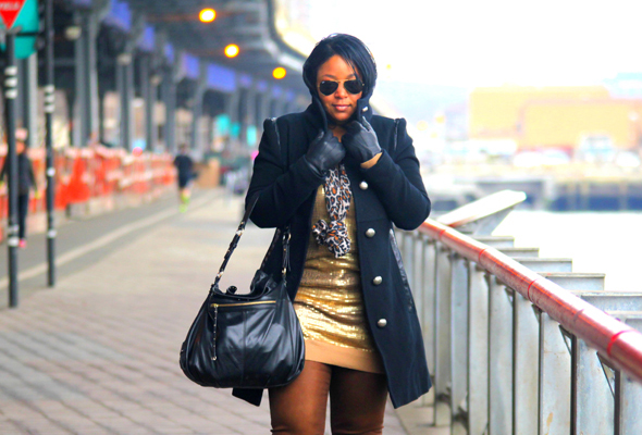 My style: Day sequins (MICHAEL Michael Kors sequin dress, Not Your Daughter's Jeans NYDJ 'Sheri' Coated Skinny Jeans Womens Terra Tan, Mackage coat, Hayden Harnett, Levity pumps)