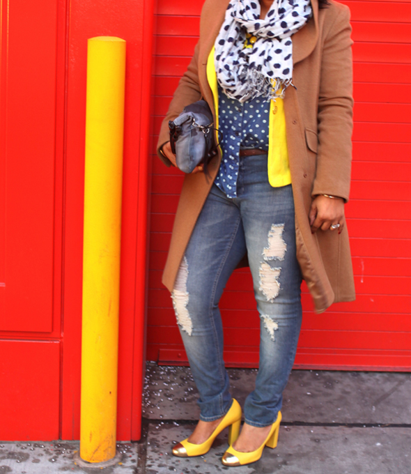 My style: A sunny outlook (polka dot denim top, yellow Style & Co. blazer, distressed denim, J.Crew Etta gold cap toe pumps, Ellen Tracy camel coat, Pietro Alessandro Fold-Over Clutch in tie dye, Icing mirrored aviator sunglasses, The Limited polka dot scarf)