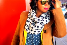 My style: A sunny outlook (Yellow blazer + polka dot blouse + distressed denim)