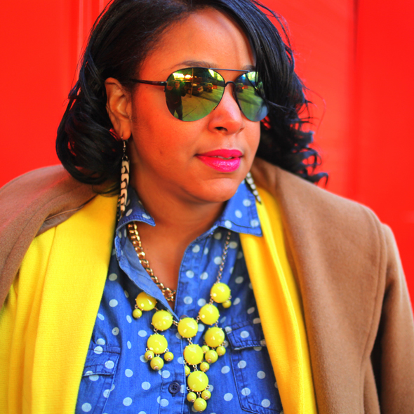 My style: A sunny outlook (polka dot denim top, yellow Style & Co. blazer, distressed denim, J.Crew Etta gold cap toe pumps, Ellen Tracy camel coat, Pietro Alessandro Fold-Over Clutch in tie dye, Icing mirrored aviator sunglasses, J.Crew bubble necklace)