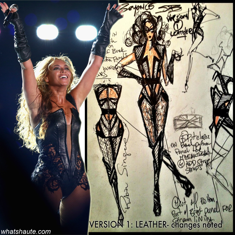 Beyonce in Rubin Singer black lace, iguana and python bodysuit and at the 2013 Super Bowl