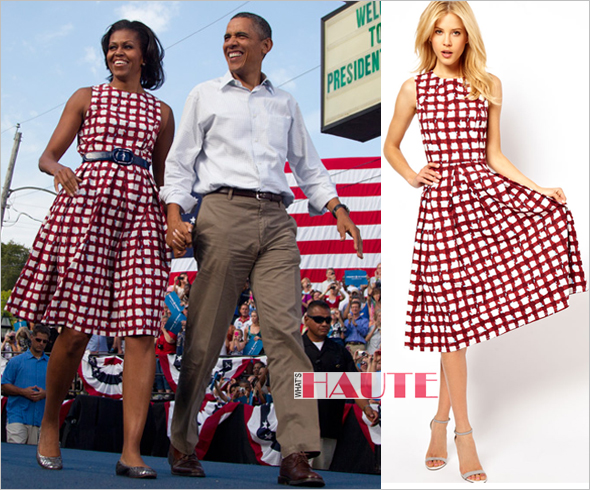 First Lady Michelle Obama ASOS Skater Dress In Check Print - now back in stock