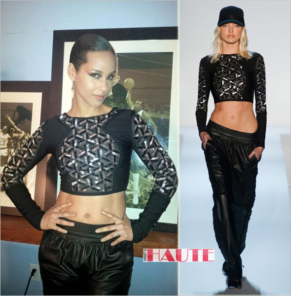 Get her haute look: Alicia Keys in Hervé Léger by Max Azria at the 2013 NBA All-Star Game