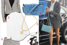 Get her haute look: Kourtney Kardashian in a BCBG striped shorts suit, Tom Ford Lace-Up Sandals & Celine bag
