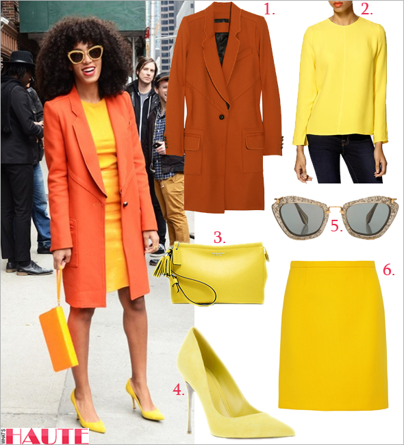 Get her haute look: Solange Knowles in orange and yellow at Letterman show