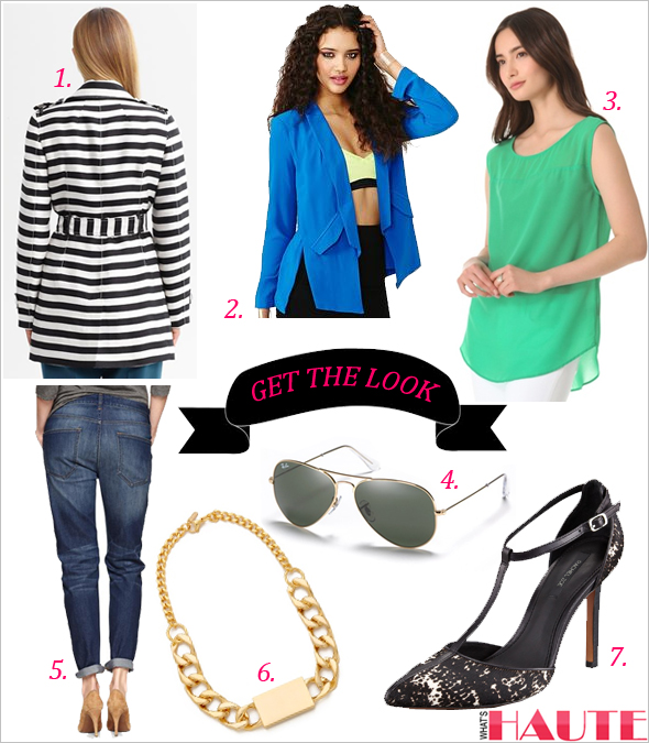 Get the look - Ray-Ban Aviator Sunglasses, BR Monogram striped trench, Nasty Gal Serious Business Blazer, PJK Patterson J. Kincaid Mason High Low Tank, 1969 sexy boyfriend jeans, Rachel Zoe Karolina Calf Hair T-Strap Pump, Nicholas ID Necklace
