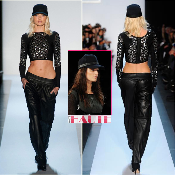 Hervé Léger by Max Azria Fall 2013 - cube print crop top, leather pants and cap