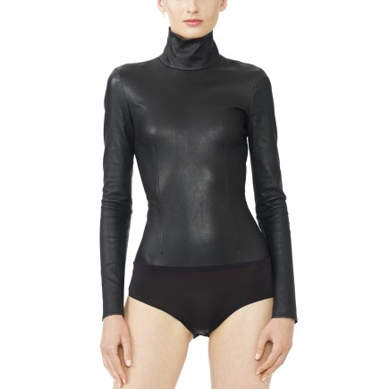 Monika Chiang black leather bodysuit