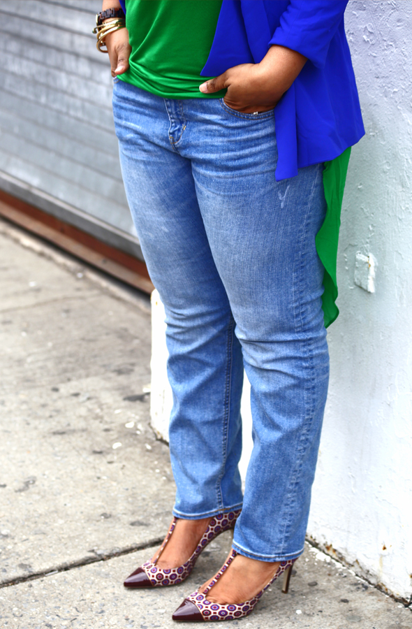 My style: Lazy Sunday (Lush Clothing blue flap blazer, Baublebar Chain ID necklace, Xtaren green hi-lo chiffon top, H&M jeans, J.Crew Everly T-Strap Pumps)