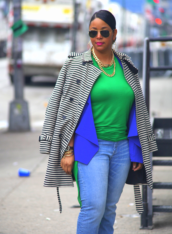 My style: Lazy Sunday (Loft Corded Dobby Striped Trench coat, Lush Clothing blue flap blazer, Baublebar Chain ID necklace, Xtaren green hi-lo chiffon top, H&M jeans, J.Crew Everly T-Strap Pumps)