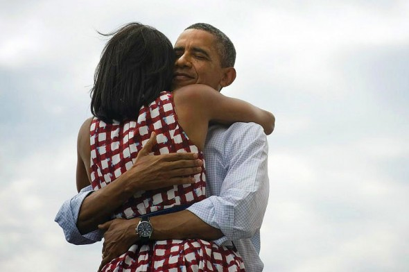 "The Obama's hug in ""Four more years"" photo - Michelle in ASOS Skater dress in check print"