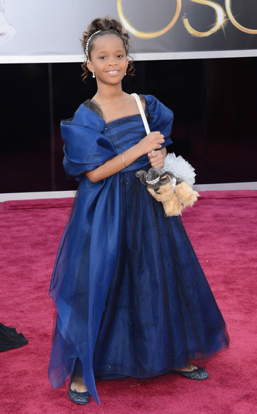 Quvenzhané Wallis in custom Armani Junior and a Poochie puppy bag