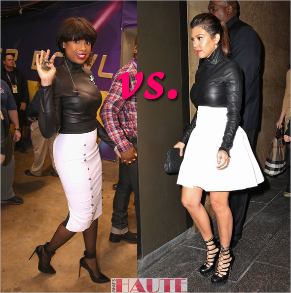 Who rocked it hotter: Jennifer Hudson vs. Kourtney Kardashian in a $795 Monika Chiang black leather bodysuit and white skirts