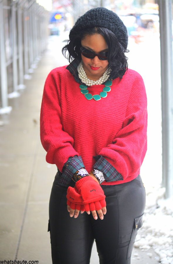 My style: Snow day (lia sophia jewelry + Free People sweater + Tory Burch leather cargo leggings)