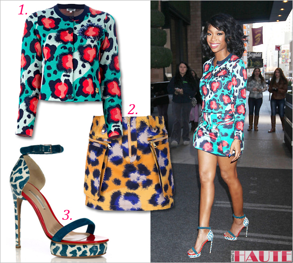 Brandy Norwood in Kenzo multi-colored cotton cardigan and printed mini skirt Nicholas Kirkwood Elaphe Sandal