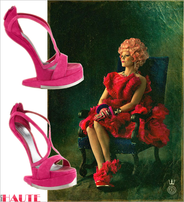 Effie Trinket in Alexander McQueen Runway Platform No-Heel Sandals