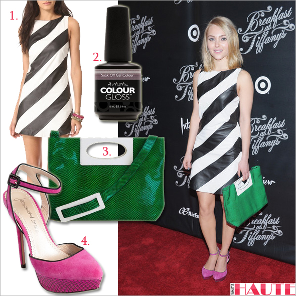 Get her haute look: AnnaSophia Robb in alice + olivia Leather Stripe A Line Dress, Jean-Michel Cazabat Women's Lex Pump in fuchsia, Nanette Lepore Tilt-A-Whirl Clutch + Gelish Artistic Vogue Gel Colour Gloss