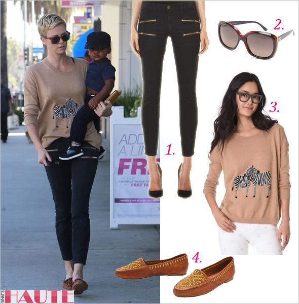 Get her haute look Charlize Theron in Current Elliott Multi Zip Stiletto jeans, Madewell Zebra Love Pullover &amp; Joie Aliso Woven Loafers