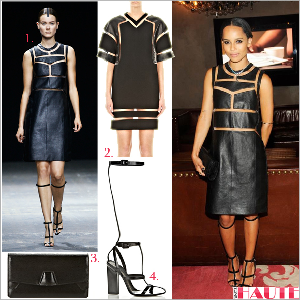 Get her haute look: Zoe Kravitz in Alexander Wang's Onyx Crewneck Dress, Tri-Fold Clutch & Aline High T-Strap Sandals