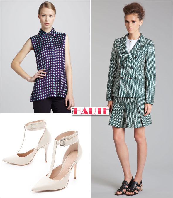 Get the look: Solange Knowles Marni Fitted Double-Breasted Jacket & Pleated Schoolgirl Miniskirt, Marni Sleeveless Grid-Print Blouse, Elizabeth and James Saucy Ankle Cuff Pumps