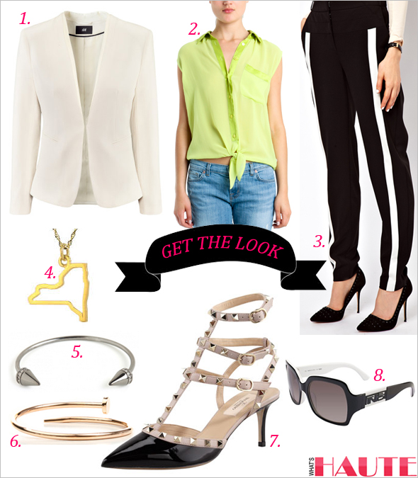 Get the look: H&M Jacket, Equipment Diem Tie Front Blouse in Lime, ASOS Pants In Monochrome, Maya Brenner Designs New York State Charm Necklace in Gold, Pave Cone Cuff in Hematite, Valentino Rockstud Patent Leather Sandals, Accessories Boutique The Nail Me Bracelet In Rose Gold, Fendi Sunglasses 5032