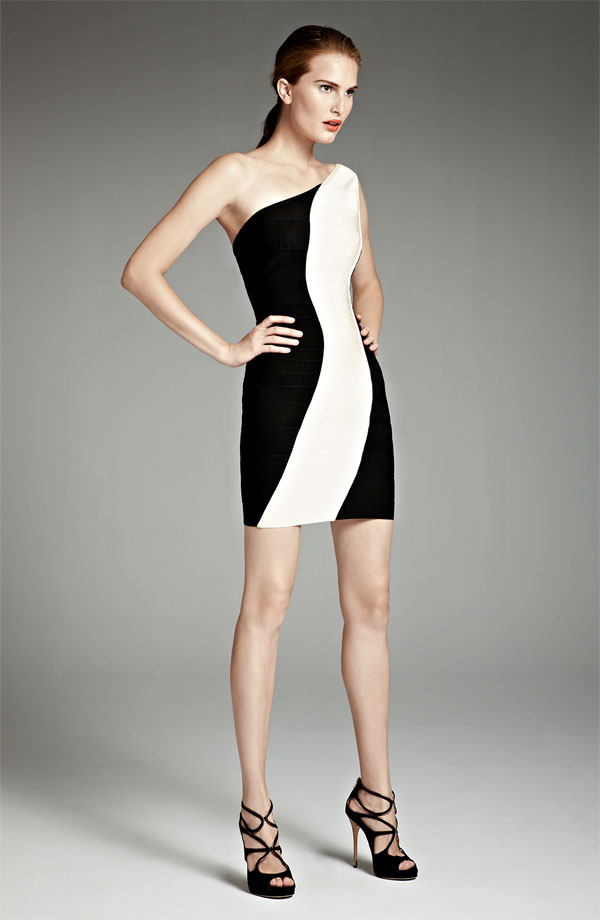 Herve Leger Colorblock One Shoulder Dress