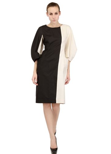 Jil Sander Two Tone Luxury Silk Panama Dress