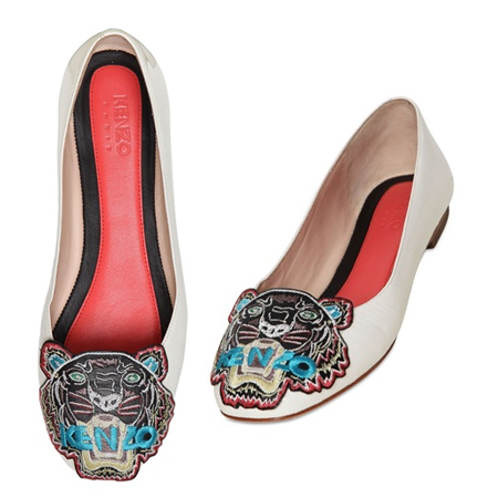 KENZO 10MM TIGER PATENT-LEATHER BALLERINA FLATS