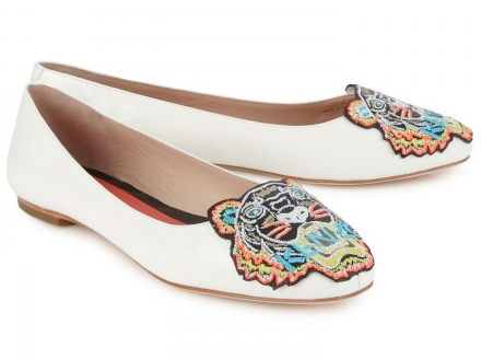 KENZO 10MM TIGER PATENT-LEATHER BALLERINAS