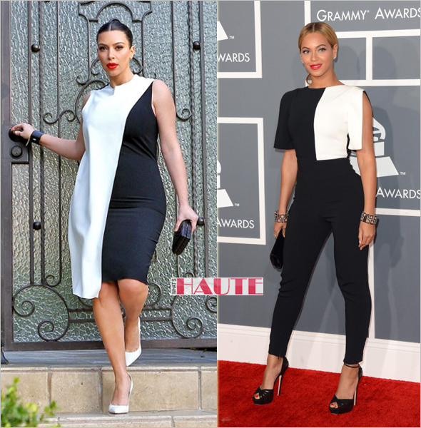 Kim Kardashian in a Cedric Charlier Sleeveless Colorblock Dress, Beyonce in Osman jumpsuit at the Grammys