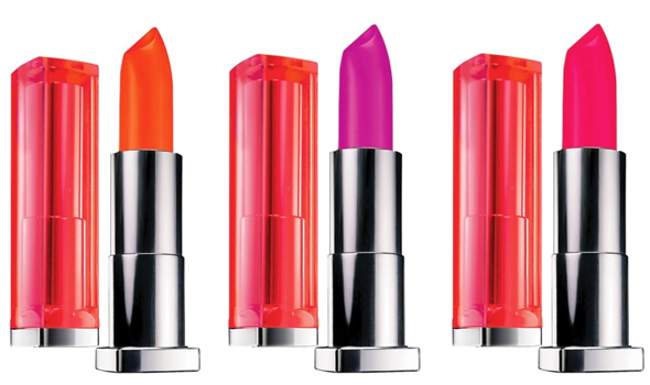 Maybelline Color Sensational Vivids Lipcolors in Vivid Rose, Brazen berry and Electric Orange