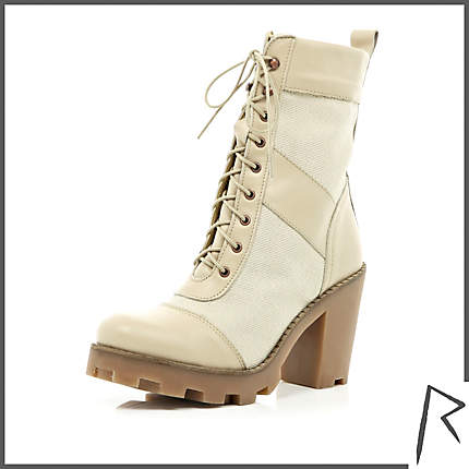 Rihanna for River Island BEIGE RIHANNA TIE FRONT TRUCKER BOOTS