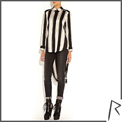 Rihanna for River Island BLACK AND WHITE RIHANNA PAINTED STRIPE SHIRT