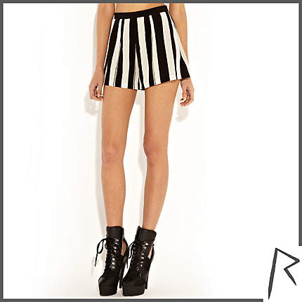 Rihanna for River Island BLACK AND WHITE RIHANNA PAINTED STRIPE SHORTS