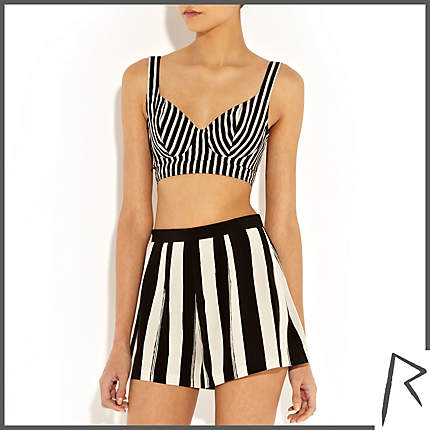 Rihanna for River Island BLACK AND WHITE RIHANNA STRIPED BRA TOP