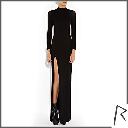 Rihanna for River Island BLACK RIHANNA SPLIT SIDE KNITTED MAXI DRESS
