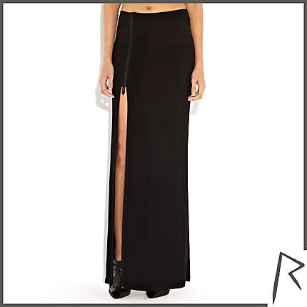Rihanna for River Island BLACK RIHANNA THIGH SPLIT MAXI SKIRT