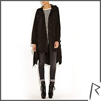 Rihanna for River Island BLACK RIHANNA TIED SHIRT PARKA JACKET