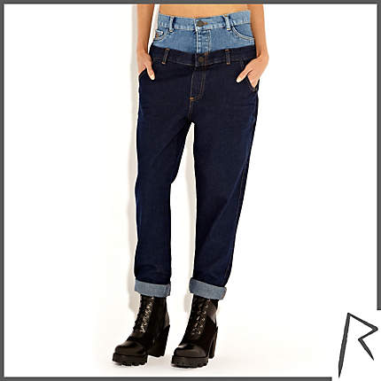 Rihanna for River Island DARK WASH RIHANNA DOUBLE TOP STRAIGHT JEANS