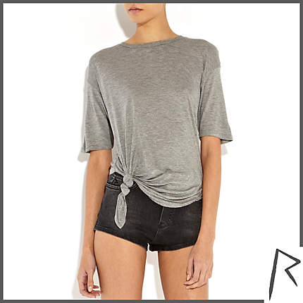 Rihanna for River Island GREY MARL RIHANNA KNOT FRONT CROPPED T-SHIRT