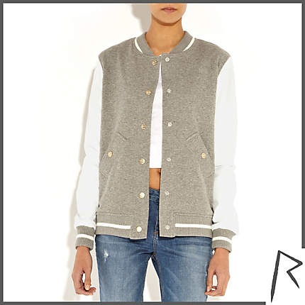 Rihanna for River Island GREY RIHANNA LEATHER SLEEVE VARSITY JACKET